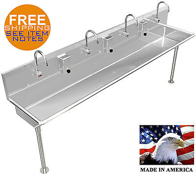 4 Multi Station 80 Wash Up Hand Sink Elec. Faucet Hands Free Stainless Steel