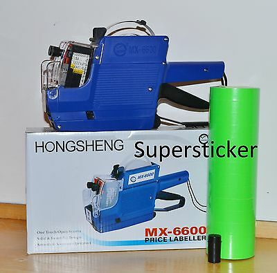 Mx-6600 10 Digits 2 Lines Price Tag Gun Labeler 1 Ink 5000 Green Tags