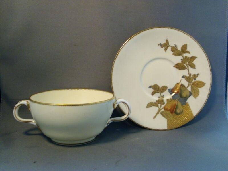 Aesthetic 19th c. Minton Porcelain Soup Bowl Bouillon Cup Saucer Phillips Pearce