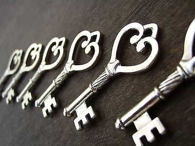 Skeleton Keys Bulk (Skeleton Keys Heart 45mm Antiqued Silver Steampunk Vintage Wedding Bulk 50pcs)