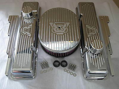 V8 Chevy Small Block Valve Covers 12 Oval Air Cleaner K&N filter Breather PCV -