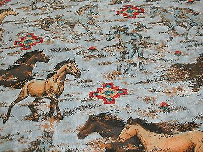 1/2 Yd Southwestern Novelty Fabric Horses Western Country Running Horses - Horse Novelties