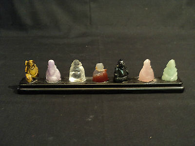 The Seven Gods Of China   Hand Carved Miniature Stone Figurines