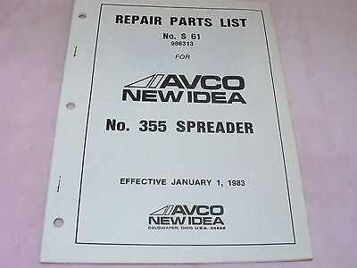 New Idea 355 Manure Spreader Parts Book