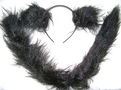 Spider Monkey Ears And Long Tail Black Luxury Faux Fur Fun Unique Fancy Dress (Spider Monkey Costume)