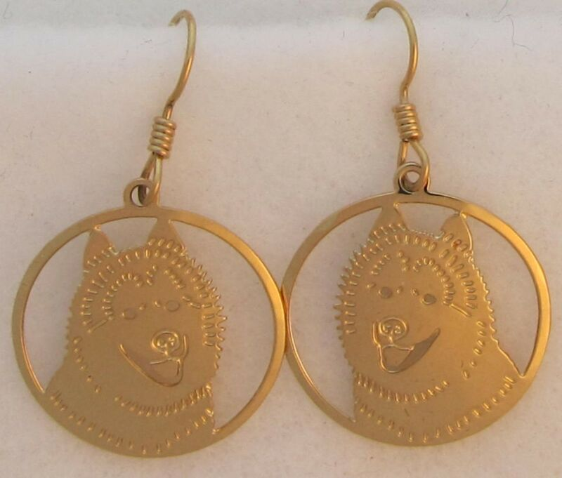 Siberian Husky Jewelry Gold Dangle Earrings