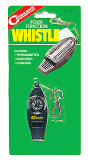 COGHLANS 4 FUNCTION CAMPING HIKING SAFTY WHISTLE COMPASS THERMOMETER MAGNIFIER (Coghlans Camping Whistle)