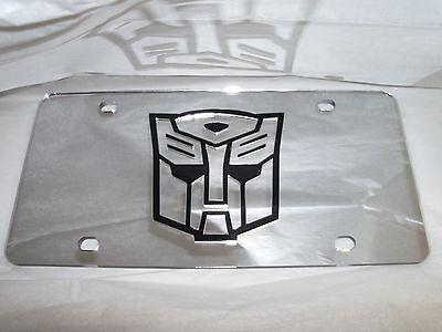 Autobots Transform Mirror Laser License Plate Silver/Black  NEW!!