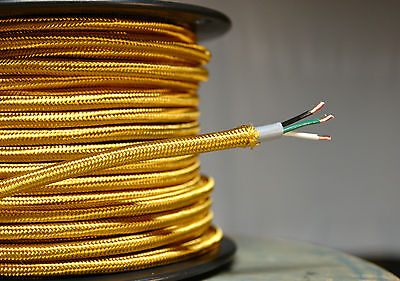 Gold Cloth Covered 3-Wire Round Cord, 18ga. Vintage Lamps Antique Lights, rayon