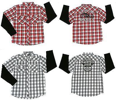 (New Genuine Dickies Boys Long Sleeve Plaid Shirt Size XXL 18)
