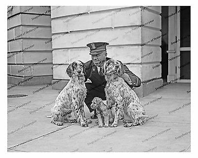 1920s era vintage photo-Police officer with spotted dogs-puppy-uniform-8x10 in (1920 Police Uniform)