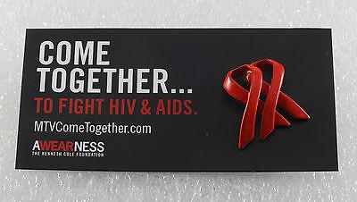 MTV Come Together Aids/HIV  Awareness Pin Double Ribbon Metal Enamel  - Aids Awareness Ribbon