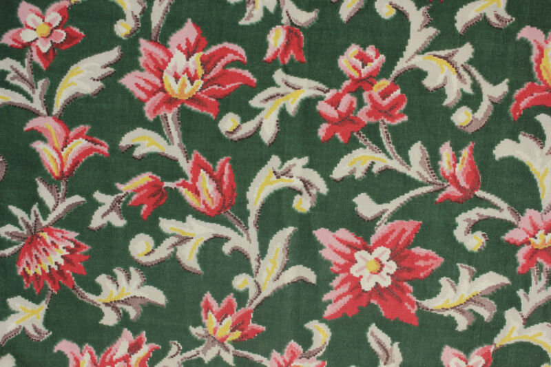 Fabric Vintage French green printed cotton Marignan material ~