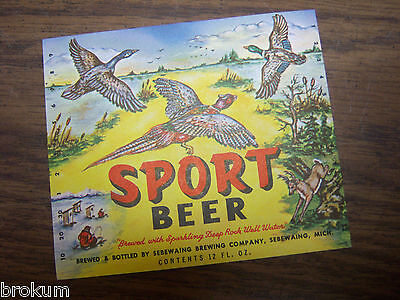 Beer 12 Oz Bottle Label (Sebewaing Brewing Co MI ~ SPORT Beer Bottle Label 12oz Ducks & Pheasant Mint )
