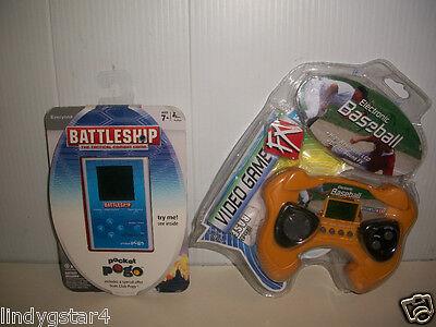 Handheld Game Video Electronic Baseball W Free Hasbro Pocket Pogo Battleship Noc