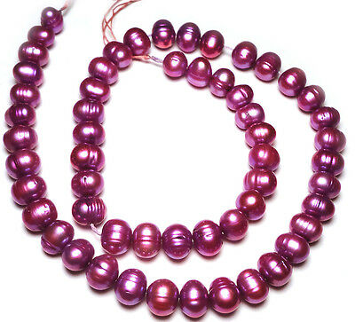 "ORCHID PURPLE OVAL POTATO FRESHWATER PEARLS BEADS 16""Std 204Q 7x5mm to 8x6mm"