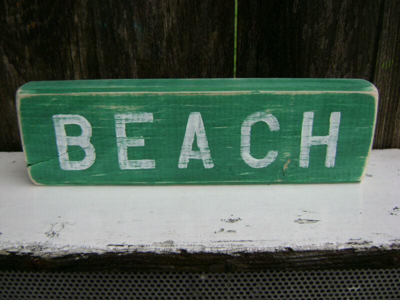 12 INCH WOOD HAND PAINTED BEACH SIGN NAUTICAL SEAFOOD (#S056)