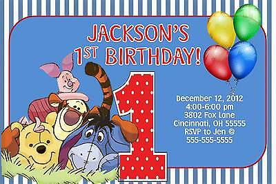 Winnie the Pooh & Gang 1st Birthday Invitation - With or Without -