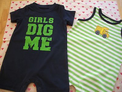 CARTERS 2 CREEPERS BABY BOYS OUTFIT 6 MTHS GIRLS DIG ME