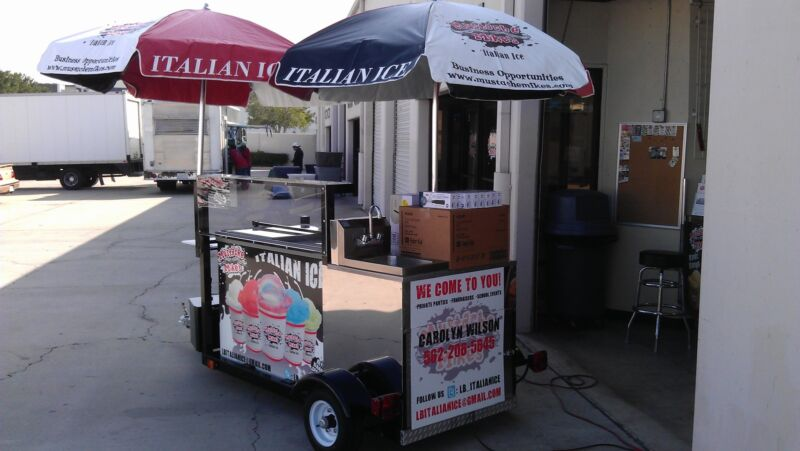 Tow-able Italian Ice Cart with sink & 80 tubs of ice Mustache Mike