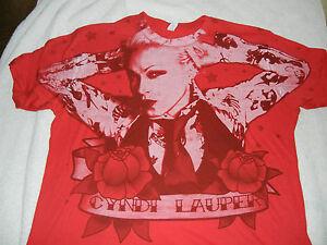 CYNDI LAUPER RED T-SHIRT/ LARGE