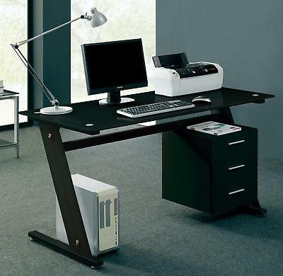 Computer Desk PC Table Office Furniture Black Glass Home Work Station Drawers