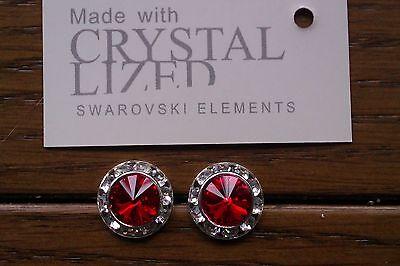 Genuine Swarovski Elements Light Siam Crystal Stud Earrings 13mm