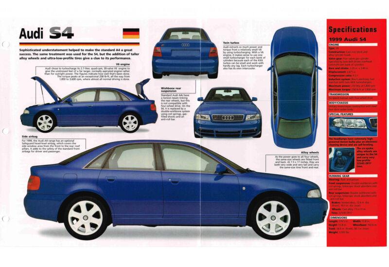 1998 / 1999 AUDI S4 / S-4 SPEC SHEET / Brochure / Pamphlet / Photo