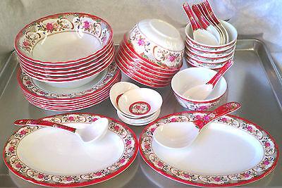 40 Piece Melamine Plastic RED Serving Bowl Plate Platter Soup Spoon Gift Set ()