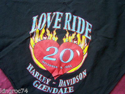 "MINT- Unused 2003 Harley-Davidson Black ""20th LOVE RIDE"" Scarf"