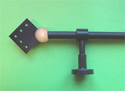 """Gardinenstange  """"Quadros"""" schwarz mit Holz hell 16 mm bis 200 cm Länge"""