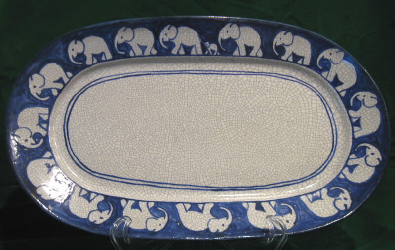 """Dedham 14"""" Oval Serving Platter with Elephants and Baby Elephant"""