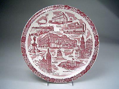 Vintage VERNON KILNS Collector SOUVENIR PLATE Red & White MILWAUKEE WISCONSIN !!