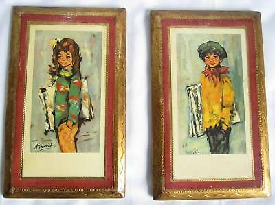 Italian Handcrafted Set 2 Wall Plaques Solid Wood Distressed Gold News Boy - 2 Solid Wood Italian