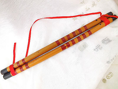 2 CHINESE FENG SHUI HANGING BAMBOO FLUTE HARMONY HAPPY MARRIAGE WEDDING PARTY NN
