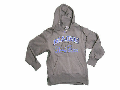 Lady Bears - MAINE BLACK BEARS GREY LADIES SCREEN PRINTED V-NECK HOODED SWEATSHIRT NWT
