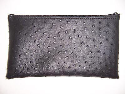 1 Pack New Premium Ostrich Pattern Black Leather Like Bank Deposit Money Bag
