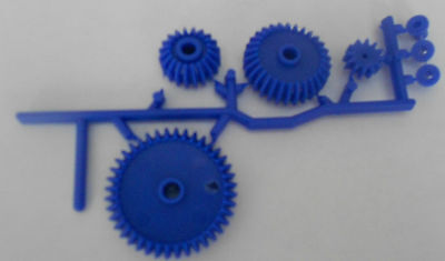 4 Pc. Gear Set With 3 Bushings - Plastic Mechanical Gears - Blue - New