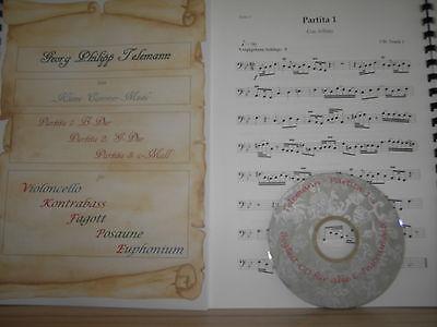 Telemann 3 Partiten 21 Tänze für Kontrabass + Begleit-CD
