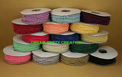 Plastic Beads (3MM Faux Pearl Plastic BEADS on a String Craft ROLL 24 yards CHOOSE )