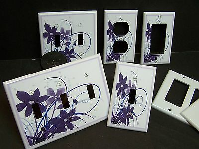 SHADES OF PURPLE FLORAL ON WHITE SWIRLS #1  LIGHT SWITCH OR OUTLET COVER ()