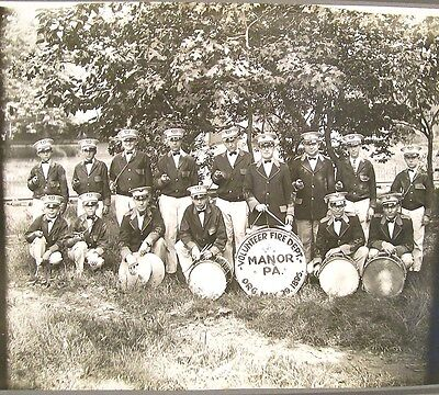 Manor PA  Volunteer Fire Dept Band  c1900-10 - Large Cabinet Photograph