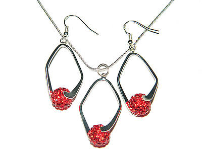 Shamballa Red Crystal Disco Balls Jewellery Set Drop Earrings & Necklace S166 (Red Disco Balls)