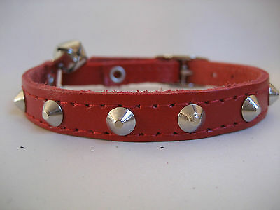 LEATHER RED SMALL STUDDED CAT COLLAR