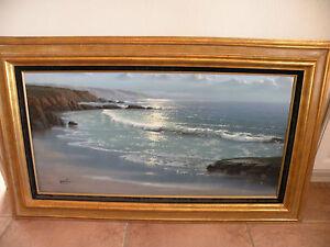 Maurice Meyer original painting on canvas seascape, extra large, original frame