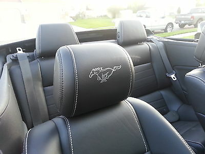 2017 FORD MUSTANG HEADREST OUTLINED PONY DECALS for LEATHER SEATS 15-17 STICKERS