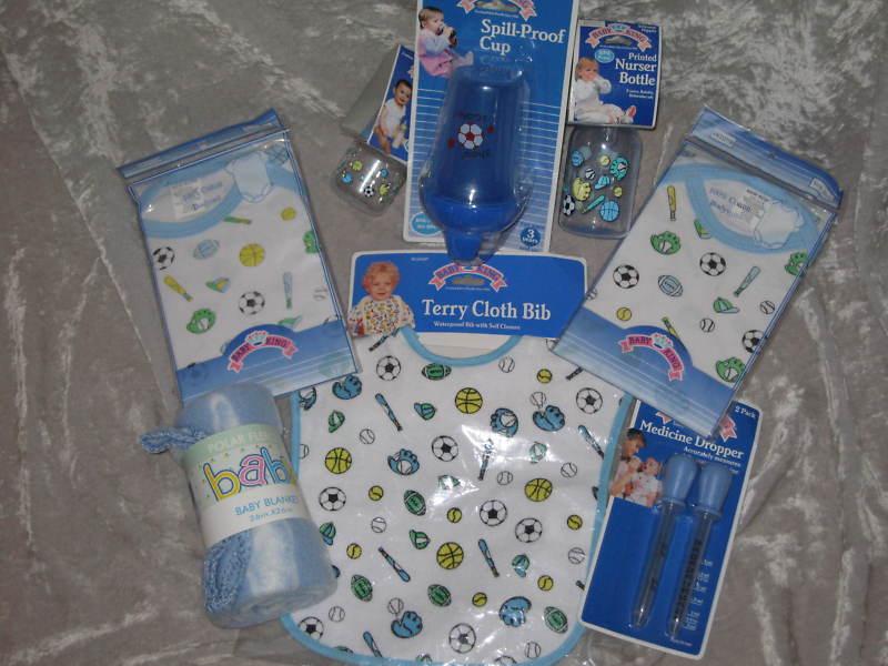 8 pc. Gift Set Baby Sports Bottle Blanket Bib Cup Shirt