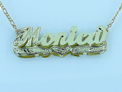 PERSONALIZED  14K GP 3D DOUBLE PLATED SCRIPT NAME PLATE NECKLACE GIFT (3d Name Necklace)