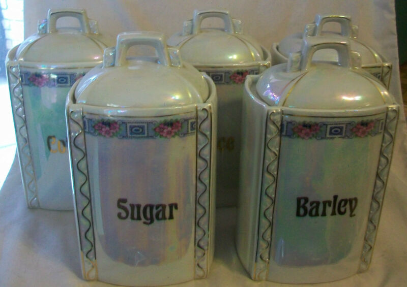VINTAGE GERMAN LUSTERWARE 5 PIECE CANISTER SET
