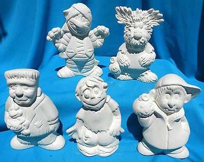 """5 SMALL MONSTERS"" SET VAMPIRE, WOLF, ZOMBIE CERAMIC BISQUE HALLOWEEN U-PAINT"